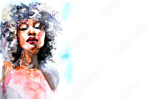 Beautiful African woman portrait in watercolor with splatter Canvas Print