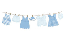 Baby Clothes Hang On The Cloth...