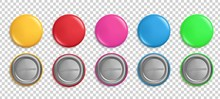 Pin Buttons. Round Badges, Cir...
