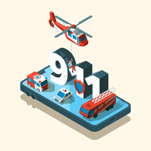 Emergency Vehicles Isometric. ...
