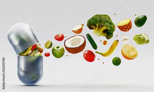 Composition with dietary supplements vegetables capsules Fototapet