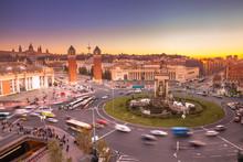 View Of The Traffic Around Plaça D'Espanya In Barcelona