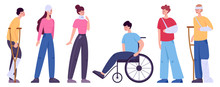 Disabled People Set. Men And W...