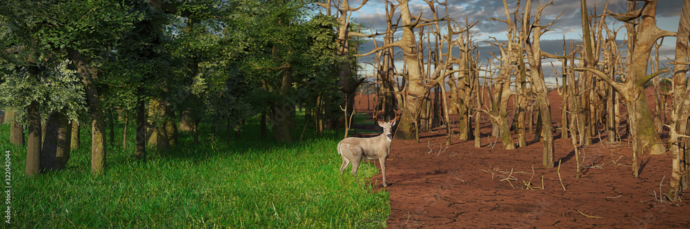Fototapeta deer in past and future forest, climate change crisis, global warming impact on nature