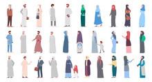 Big Muslim People Set. Arabian Woman And Man Collection