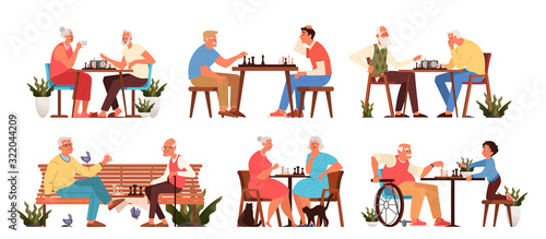 Obraz Old people play chess set. Elderly peope sitting at the table with chessboard. - fototapety do salonu
