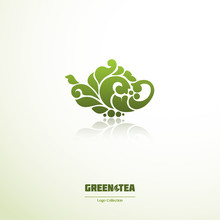 Green Tea Logo. Ornate Teapot ...