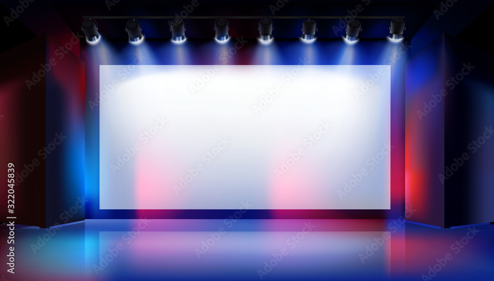Fototapeta Large projection screen on the stage. Show in art gallery. Free space for advertising. Colorful background. Vector illustration.