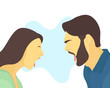 Screaming couple. Unhappy couple. Relationship problems. Divorce concept. Man screams at woman. Flat vector character illustration.