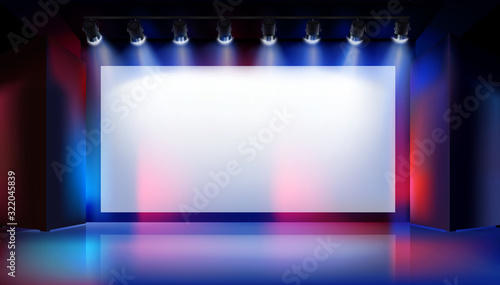 Obraz Large projection screen on the stage. Show in art gallery. Free space for advertising. Colorful background. Vector illustration. - fototapety do salonu