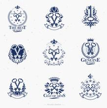 Old Turnkey Keys Emblems Set. ...