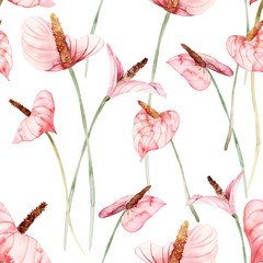 Fototapeta Do sypialni Seamless pattern with anthuriums watercolor painting