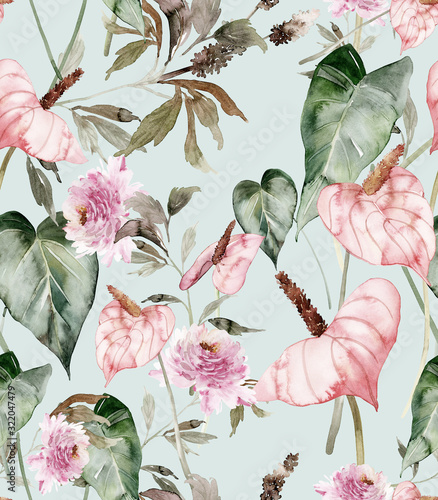 Seamless pattern with anthuriums watercolor painting