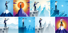 Businessman Looking For Opportunities In Spyglass Standing On Top Peak Of Mountain Business Concept Vector Illustrations Set, Successful Young Handsome Business Man Searches New Perspectives.