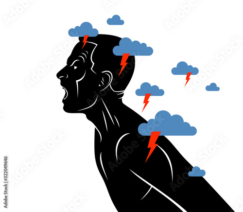 Anger, aggression and psychosis mental health and high anxiety vector conceptual illustration or logo visualized by man face profile shouting and screaming, dark clouds over his head Wallpaper Mural