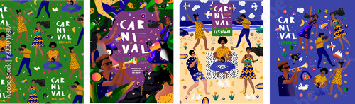 Brazilian carnival and festival! Vector abstract holiday illustration with people, dancers and musicians Tapéta, Fotótapéta
