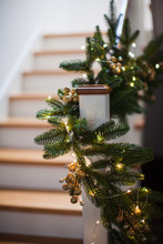 Christmas Decor At The Wooden Stairs In The House