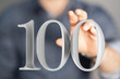 Leinwanddruck Bild - 100 Digital number Years Anniversary 3d background.