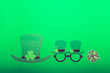 Leinwanddruck Bild - Different photo booth props for St Patricks Day party, top view, green background
