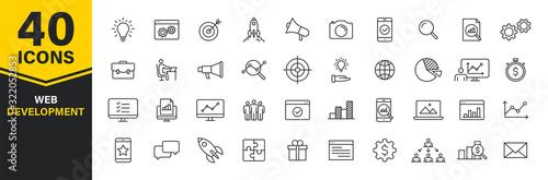 Obraz Set of 40 Web development web icons in line style. Marketing, analytics, e-commerce, digital, management, seo. Vector illustration. - fototapety do salonu