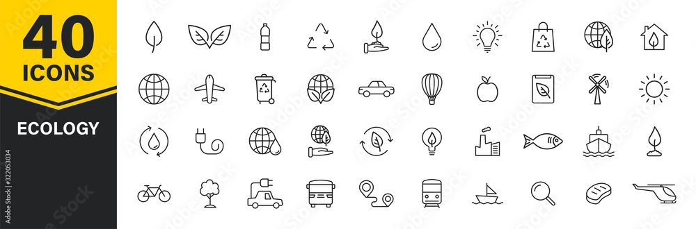 Fototapeta Set of 40 Ecology web icons in line style. Electric Car, Organic, environmental energy. Vector illustration.