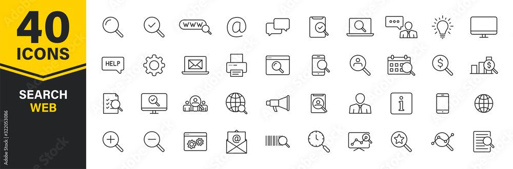Fototapeta Set of 40 Search web icons in line style. SEO analytics, Digital marketing data analysis, Employee Management. Vector illustration. - obraz na płótnie