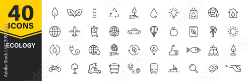 Set of 40 Ecology web icons in line style Wallpaper Mural