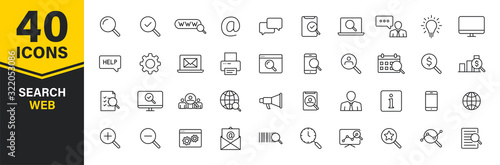 Set of 40 Search web icons in line style. SEO analytics, Digital marketing data analysis, Employee Management. Vector illustration.