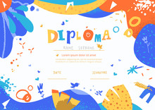 Modern Colorful Diploma Template For Kids. Vector Illustration Template Certificate Background With Hand Drawn Letters Of Preschool School, Preschool Or Playschool.