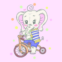 Illustration With Cute Little Elephant Riding A Bicycle. Can Be Used For Baby T-shirt Print, Fashion Print Design, Kids Wear, Baby Shower Celebration Greeting And Invitation Card.