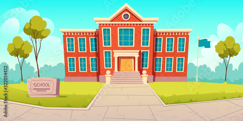 Obraz School building educational institution, college empty front yard with green trees, grass lawns, paving stones path, city architecture, place for studying, summer landscape Cartoon vector illustration - fototapety do salonu