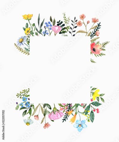 Fototapeta Watercolor wildflower frame on white background. Beautiful summer meadow flowers border, botanical backdrop for cards, invitations. Floral hand drawn illustration obraz