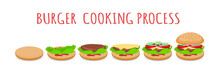 Stages Of Cooking Burger Proce...