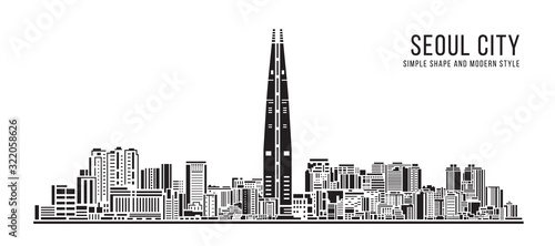 Cityscape Building Simple architecture modern abstract style art Vector Illustra Canvas Print