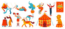 Circus Performance, Acrobats And Trained Animals, Vector Illustration. Set Of Isolated Cartoon Characters, People And Animals Performing Stunts In Circus. Horse, Elephant, Strongman And Juggling Clown