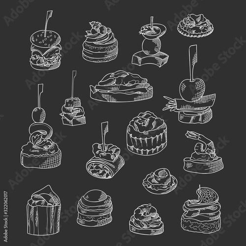 Set of finger food elements Canvas Print