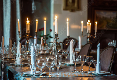 romantic candles in the restaurant