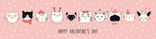 Hand Drawn Card, Banner With Different Cute Cats In Hats, Glasses, With Hearts, Text Happy Valentines Day. Vector Illustration. Line Drawing. Design Concept For Holiday Print, Invite, Gift Tag.