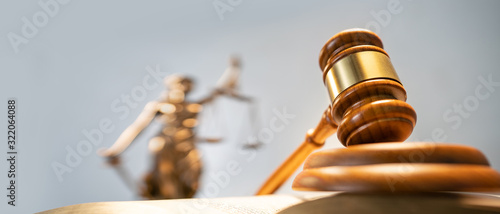Statue of lady justice on bright background - Side view with copy space Wallpaper Mural