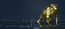 Wallstreet Bull And Bear On Stock Chart Background. Stock Exchange Concept