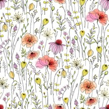 Wildflowers And Poppies In Seamless Floral Pattern. Vector Hand Drawn Illustration In Vintage Watercolor Style.