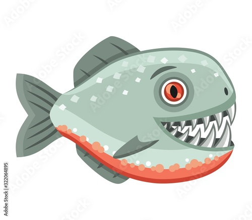 Vászonkép Scary piranha on white background, vector illustration