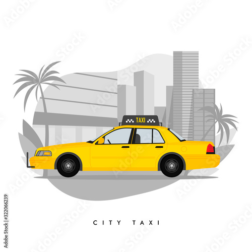 Obraz na plátně Vector illustration of yellow taxi cab on city with skyscrapers and tower with p