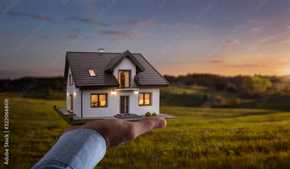 Fototapeta Concept of buying or building new home. Male hand showing, offering a new dream house at the empty field with copy space