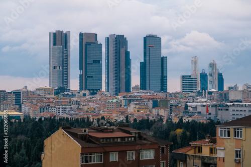 Istanbul, Turkey - Jan 12, 2020: Skyscrapers in Istanbu ,Sisli District skyline, Turkey Wallpaper Mural