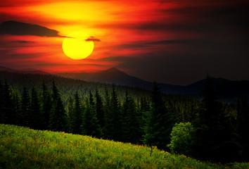 Panel Szklany Podświetlane Popularne Mysterious mountain landscape.