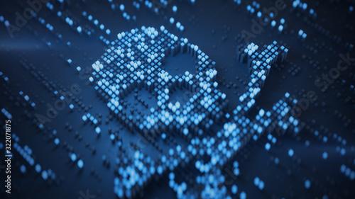 Fototapeta Blue digital Jolly Roger symbol 3D rendering illustration