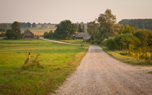 Road In A Countryside In Latvi...