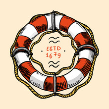 Sea Lifebuoy. Nautical Or Marine Ring Buoy, Ocean Water Wheely Or Lifering. Hand Drawn Monochrome Retro Engraved Old Sketch. Vector Illustration For Tattoo Or Emblems.