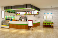 3d Render Of Cafe Interior